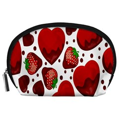 Strawberry Hearts Cocolate Love Valentine Pink Fruit Red Accessory Pouches (large)  by Alisyart