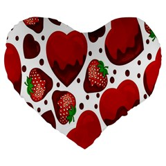 Strawberry Hearts Cocolate Love Valentine Pink Fruit Red Large 19  Premium Flano Heart Shape Cushions by Alisyart