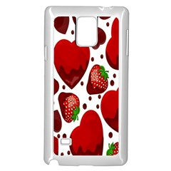 Strawberry Hearts Cocolate Love Valentine Pink Fruit Red Samsung Galaxy Note 4 Case (white)