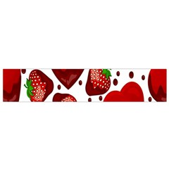Strawberry Hearts Cocolate Love Valentine Pink Fruit Red Flano Scarf (small) by Alisyart