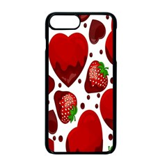 Strawberry Hearts Cocolate Love Valentine Pink Fruit Red Apple iPhone 7 Plus Seamless Case (Black) by Alisyart