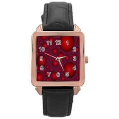 Voronoi Diagram Circle Red Rose Gold Leather Watch  by Alisyart