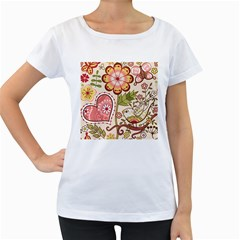 Seamless Texture Flowers Floral Rose Sunflower Leaf Animals Bird Pink Heart Valentine Love Women s Loose Fit T Shirt (white)