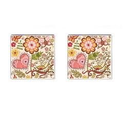 Seamless Texture Flowers Floral Rose Sunflower Leaf Animals Bird Pink Heart Valentine Love Cufflinks (square) by Alisyart