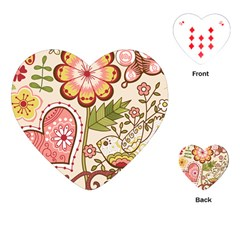 Seamless Texture Flowers Floral Rose Sunflower Leaf Animals Bird Pink Heart Valentine Love Playing Cards (heart)