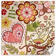 Seamless Texture Flowers Floral Rose Sunflower Leaf Animals Bird Pink Heart Valentine Love Canvas 12  X 12   by Alisyart