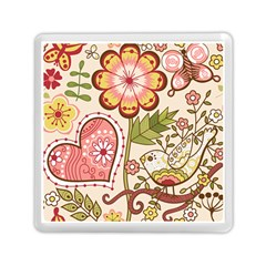 Seamless Texture Flowers Floral Rose Sunflower Leaf Animals Bird Pink Heart Valentine Love Memory Card Reader (square)