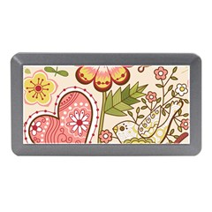Seamless Texture Flowers Floral Rose Sunflower Leaf Animals Bird Pink Heart Valentine Love Memory Card Reader (mini)