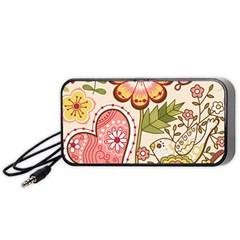 Seamless Texture Flowers Floral Rose Sunflower Leaf Animals Bird Pink Heart Valentine Love Portable Speaker (black) by Alisyart