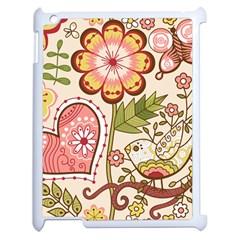 Seamless Texture Flowers Floral Rose Sunflower Leaf Animals Bird Pink Heart Valentine Love Apple Ipad 2 Case (white) by Alisyart