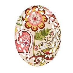 Seamless Texture Flowers Floral Rose Sunflower Leaf Animals Bird Pink Heart Valentine Love Ornament (oval Filigree)