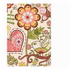 Seamless Texture Flowers Floral Rose Sunflower Leaf Animals Bird Pink Heart Valentine Love Large Garden Flag (two Sides) by Alisyart