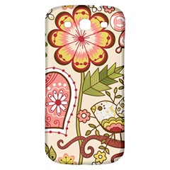 Seamless Texture Flowers Floral Rose Sunflower Leaf Animals Bird Pink Heart Valentine Love Samsung Galaxy S3 S Iii Classic Hardshell Back Case