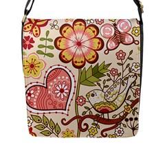 Seamless Texture Flowers Floral Rose Sunflower Leaf Animals Bird Pink Heart Valentine Love Flap Messenger Bag (l)
