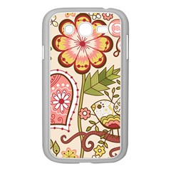 Seamless Texture Flowers Floral Rose Sunflower Leaf Animals Bird Pink Heart Valentine Love Samsung Galaxy Grand Duos I9082 Case (white)