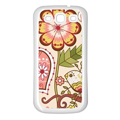 Seamless Texture Flowers Floral Rose Sunflower Leaf Animals Bird Pink Heart Valentine Love Samsung Galaxy S3 Back Case (white)