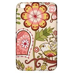 Seamless Texture Flowers Floral Rose Sunflower Leaf Animals Bird Pink Heart Valentine Love Samsung Galaxy Tab 3 (8 ) T3100 Hardshell Case