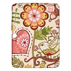 Seamless Texture Flowers Floral Rose Sunflower Leaf Animals Bird Pink Heart Valentine Love Samsung Galaxy Tab 3 (10 1 ) P5200 Hardshell Case