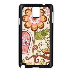Seamless Texture Flowers Floral Rose Sunflower Leaf Animals Bird Pink Heart Valentine Love Samsung Galaxy Note 3 N9005 Case (black)