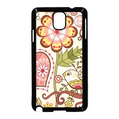 Seamless Texture Flowers Floral Rose Sunflower Leaf Animals Bird Pink Heart Valentine Love Samsung Galaxy Note 3 Neo Hardshell Case (black)