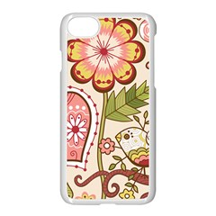 Seamless Texture Flowers Floral Rose Sunflower Leaf Animals Bird Pink Heart Valentine Love Apple Iphone 7 Seamless Case (white)
