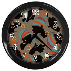 African Women Ethnic Pattern Wall Clocks (black) by Simbadda