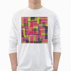 Abstract Pattern White Long Sleeve T Shirts