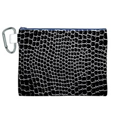 Black White Crocodile Background Canvas Cosmetic Bag (xl) by Simbadda