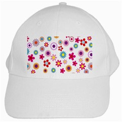 Colorful Floral Flowers Pattern White Cap by Simbadda