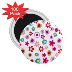 Colorful Floral Flowers Pattern 2 25  Magnets (100 Pack)  by Simbadda