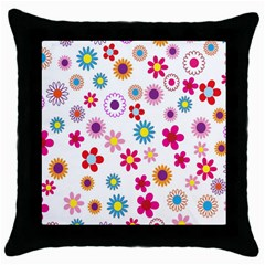 Colorful Floral Flowers Pattern Throw Pillow Case (Black)