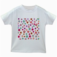 Colorful Floral Flowers Pattern Kids White T Shirts by Simbadda