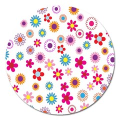 Colorful Floral Flowers Pattern Magnet 5  (round) by Simbadda