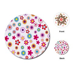 Colorful Floral Flowers Pattern Playing Cards (round)  by Simbadda