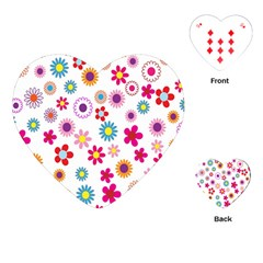 Colorful Floral Flowers Pattern Playing Cards (heart)  by Simbadda