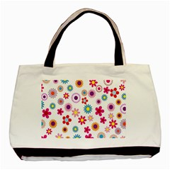 Colorful Floral Flowers Pattern Basic Tote Bag by Simbadda