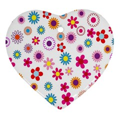 Colorful Floral Flowers Pattern Heart Ornament (two Sides) by Simbadda