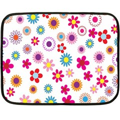 Colorful Floral Flowers Pattern Double Sided Fleece Blanket (mini)  by Simbadda