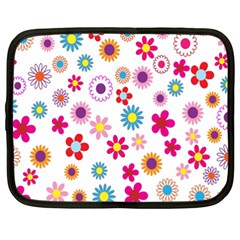 Colorful Floral Flowers Pattern Netbook Case (xxl)  by Simbadda