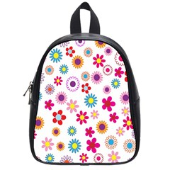Colorful Floral Flowers Pattern School Bags (small)  by Simbadda