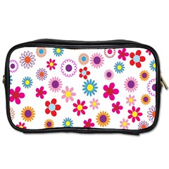 Colorful Floral Flowers Pattern Toiletries Bags 2 Side by Simbadda