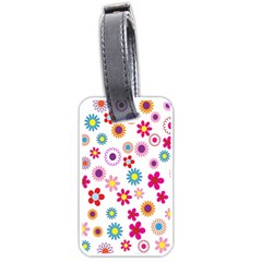 Colorful Floral Flowers Pattern Luggage Tags (one Side)  by Simbadda