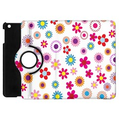 Colorful Floral Flowers Pattern Apple Ipad Mini Flip 360 Case