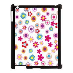 Colorful Floral Flowers Pattern Apple Ipad 3/4 Case (black) by Simbadda