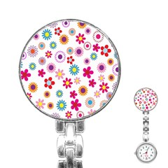 Colorful Floral Flowers Pattern Stainless Steel Nurses Watch by Simbadda