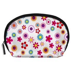 Colorful Floral Flowers Pattern Accessory Pouches (large)