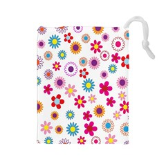 Colorful Floral Flowers Pattern Drawstring Pouches (large)  by Simbadda