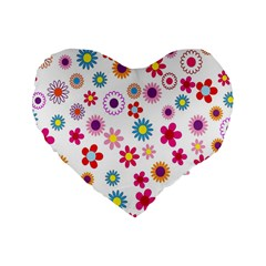 Colorful Floral Flowers Pattern Standard 16  Premium Flano Heart Shape Cushions by Simbadda