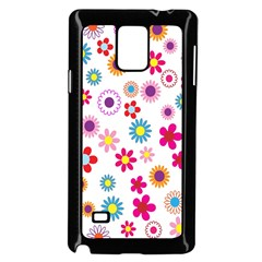 Colorful Floral Flowers Pattern Samsung Galaxy Note 4 Case (black)