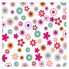 Colorful Floral Flowers Pattern Large Satin Scarf (square) by Simbadda